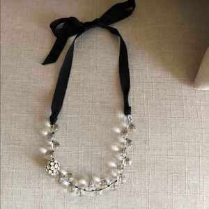 J. Crew Clear and Black Ribbon Necklace